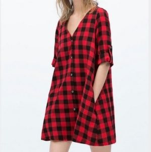 Zara oversized buffalo plaid dress/tunic